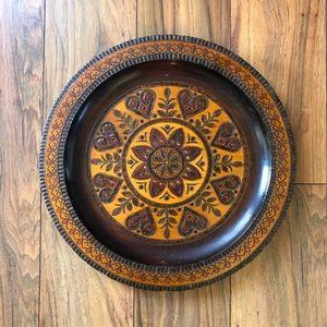 Vintage 70s Carved Wood Plate Boho Wall Decor